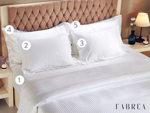 STRIPED | 5-Piece Set (Fitted Sheet, 4 Pillowcases) 500 TC