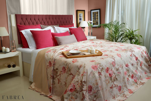 Pink & Beige Floral Bedspread and Pillowcases Set