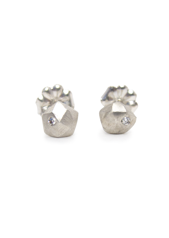 Silver and Diamond Micro Fragment Stud Earrings