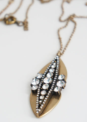 Brass Crystal Scarab Necklace