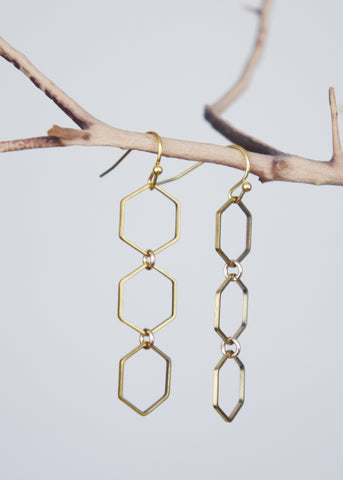 Linked Hexagon Earrings