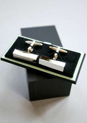 Bey-Berk Rhodium Bar Cufflinks