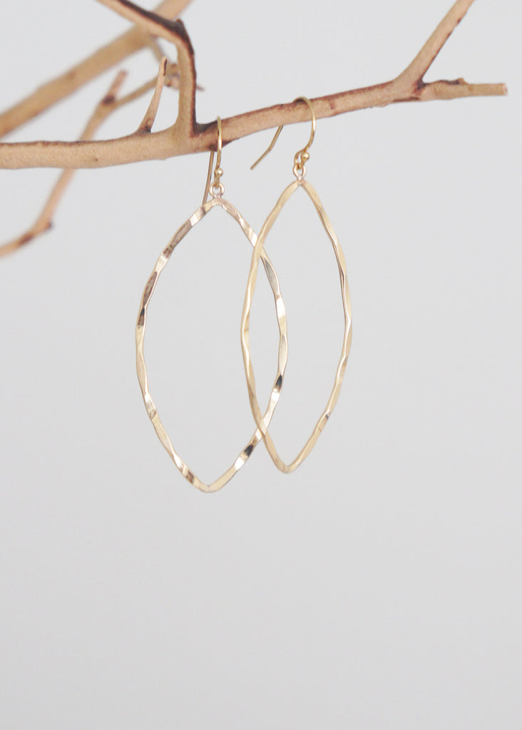 Hammered Marquis Drop Earrings