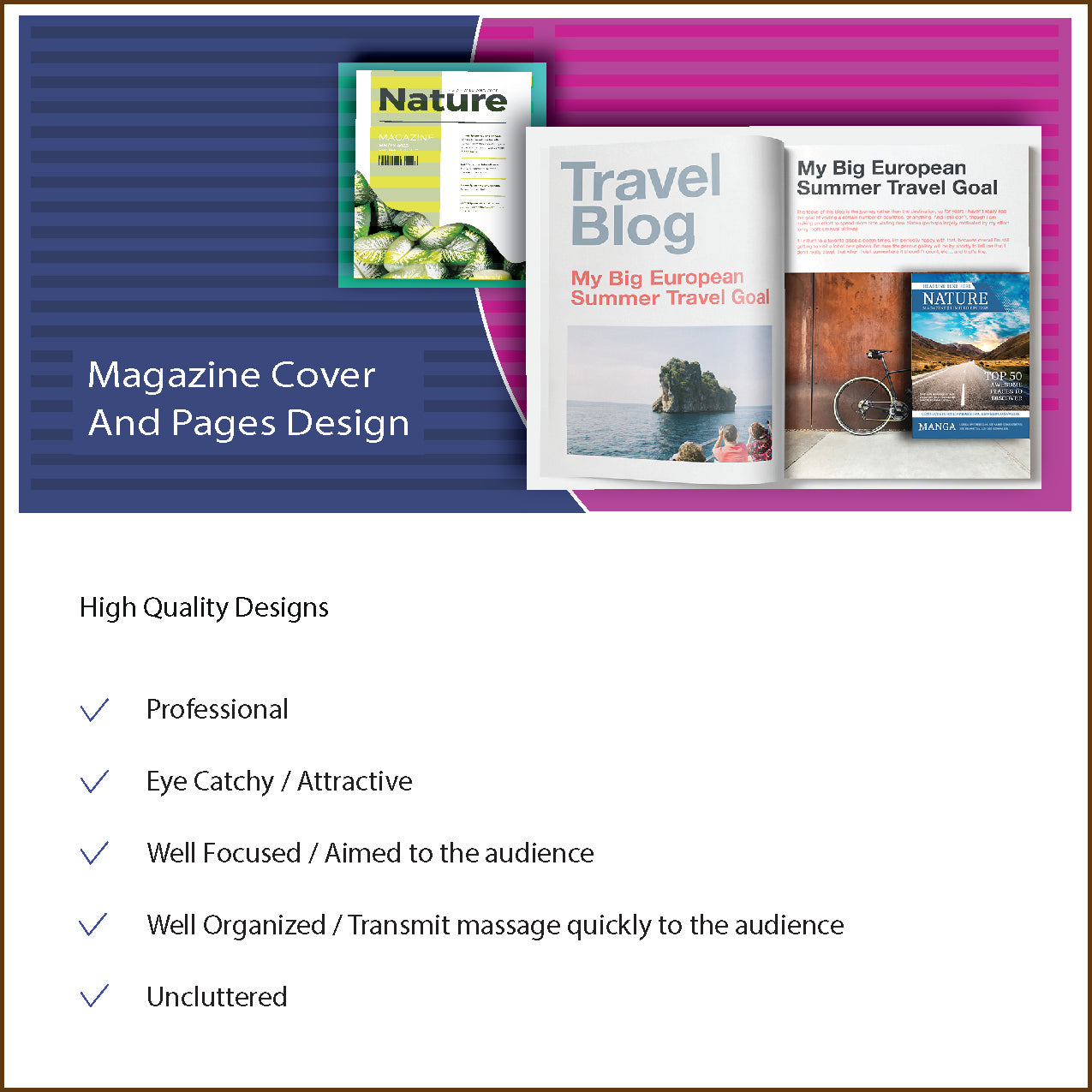 Magazine Cover and pages Design