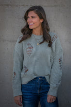Load image into Gallery viewer, Sage Distressed Sweater
