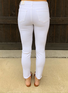 White Hem Split Denim