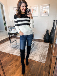 Black and White Stripe Knit Top- LARGE
