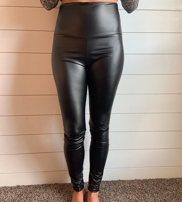 Faux Leather Leggings- SMALL