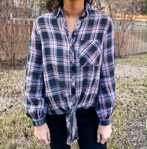 Having Fun Plaid Top- SMALL AND LARGE