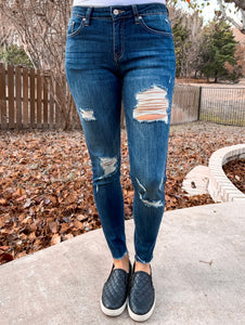 Distressed Medium Wash Denim