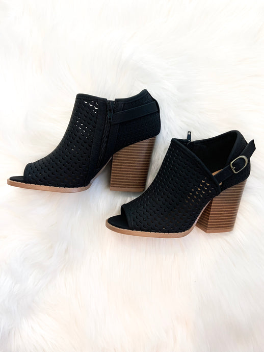 Black Peep Toe Booties
