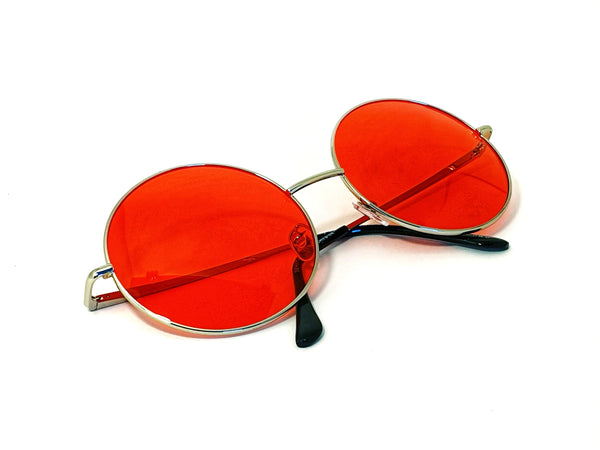 Retro Circle Sunglasses - Red