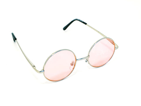 Retro Circle Sunglasses -Soft Pink