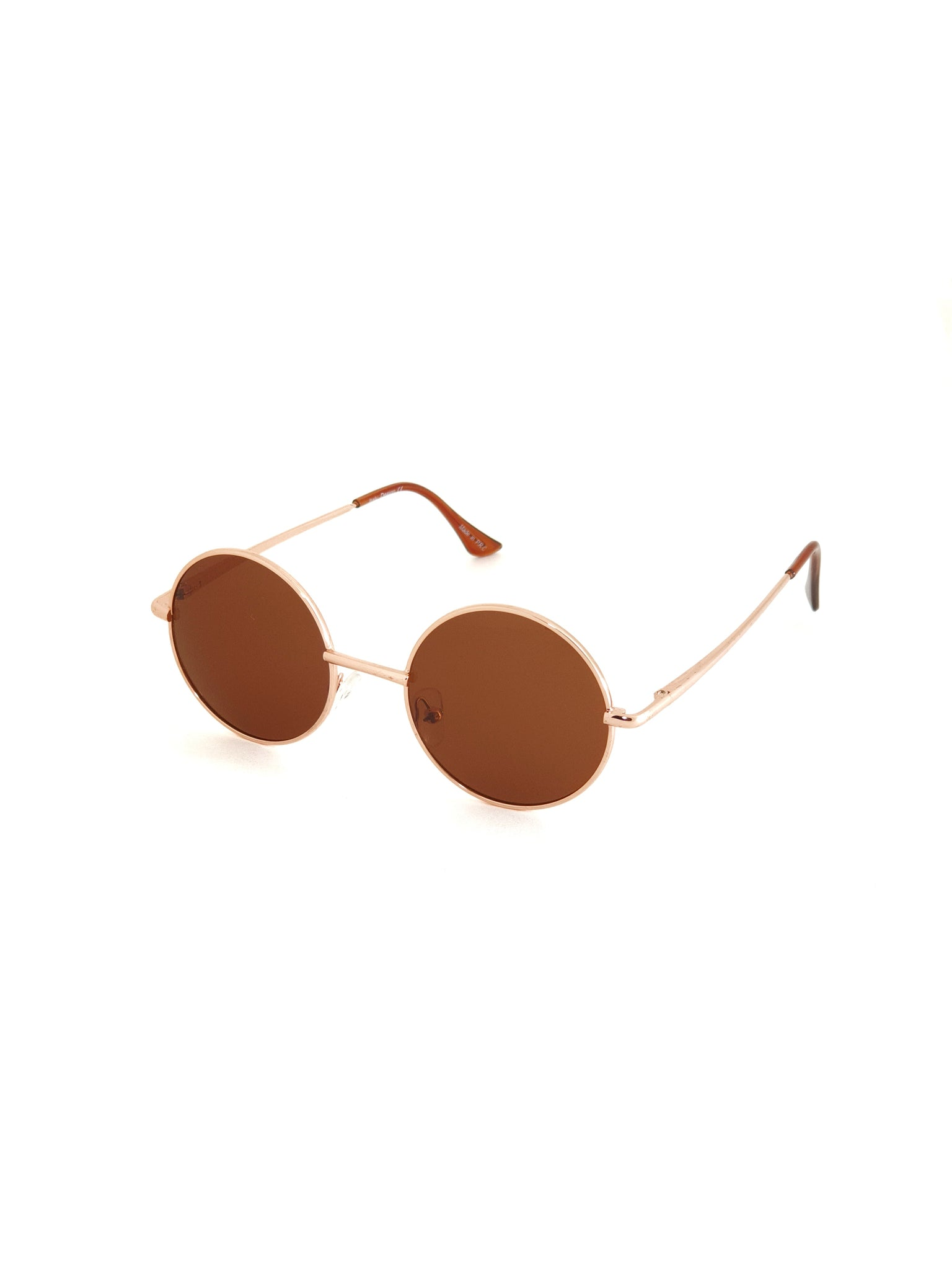 Retro Circle Sunglasses - Brown