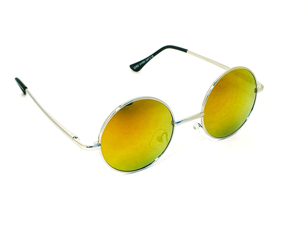 Retro Circle Sunglasses - Orange/Brown/Green Reflective with Mirror Effect