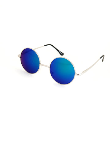 Retro Circle Sunglasses - Green/Blue Reflective with Mirror Effect