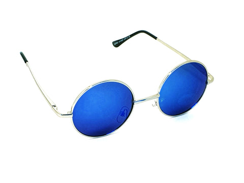 Retro Circle Sunglasses - Blue (reflective lens)