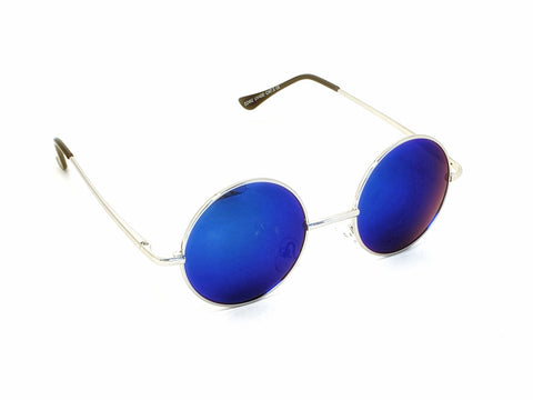 Retro Circle Sunglasses - Blue/Green/Purple (Reflective lens)
