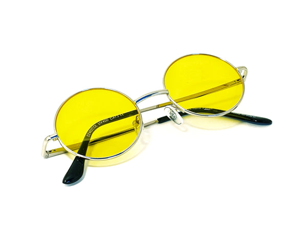 Retro Circle Sunglasses - Yellow