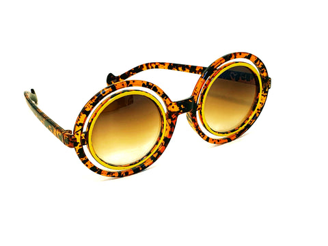 Leopard Retro Circle Sunglasses