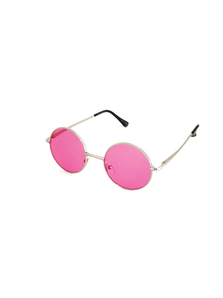 Retro Circle Sunglasses - Pink