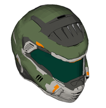 Load image into Gallery viewer, Doom Eternal Slayer Praetor Helmet Foam Cosplay Pepakura File Template