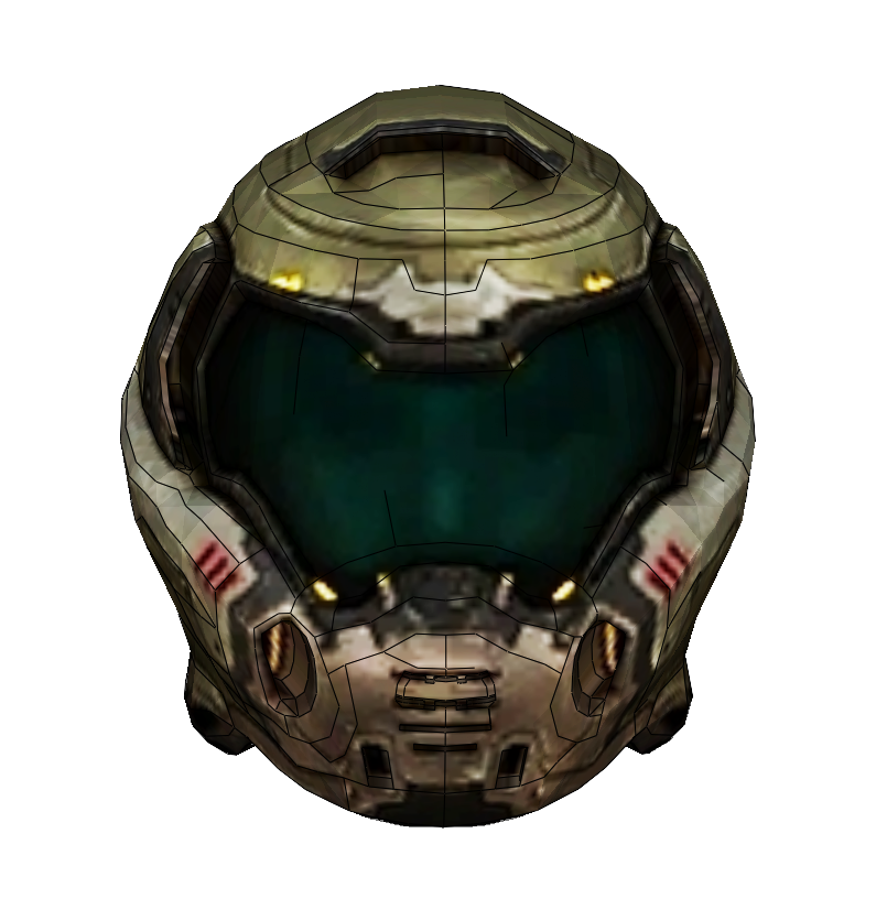 doom guy helmet transparent