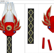 Load image into Gallery viewer, MMPR Red Ranger Power Sword  FOAM Pepakura File Template