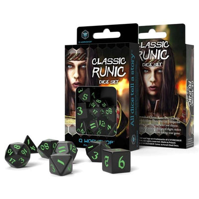 Classic Runic DICE SET (7) Black & Green