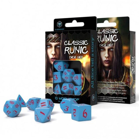 Classic Runic DICE SET (7) Blue & Red
