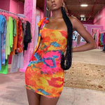 Robe courte moulante Tie & Dye flashy