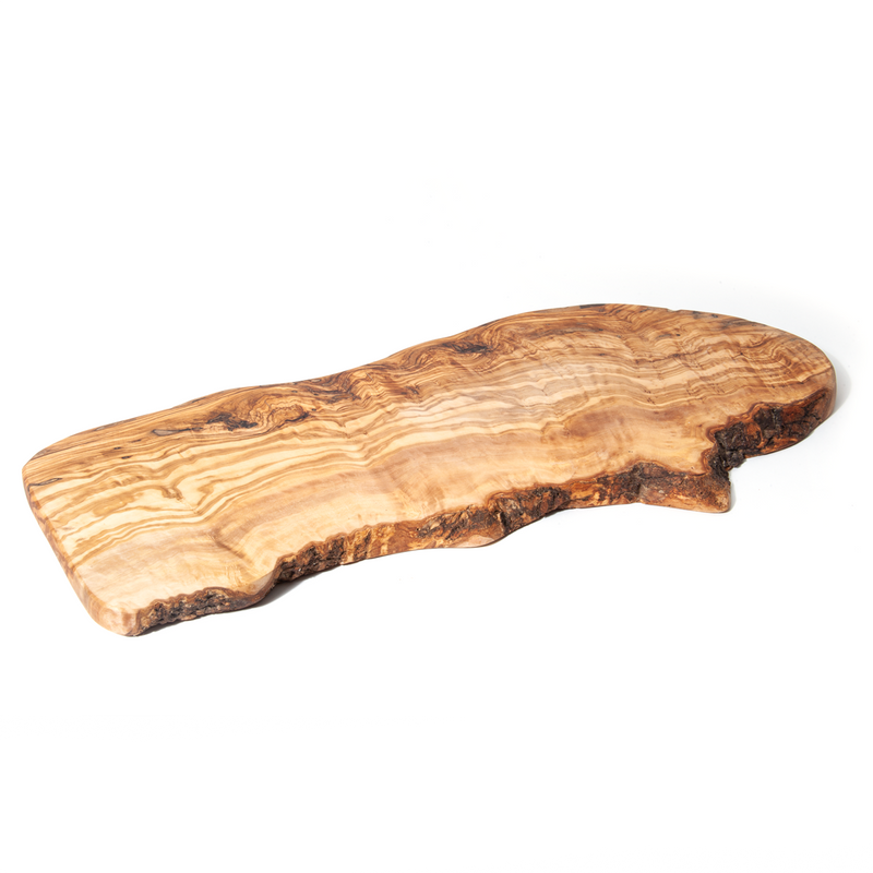 Nardelli Rustic Olive Wood Cutting/Serving Boards with Olive Wood Tree Bark Sided