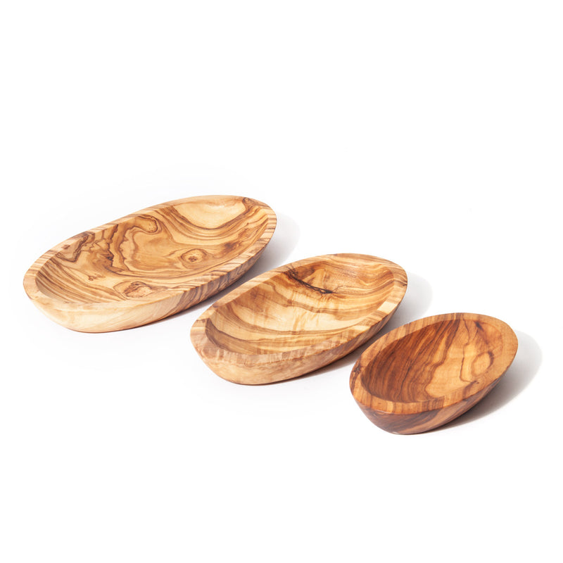 Nardelli Olive Wood Stackable Oval Dishes (Set of 3)