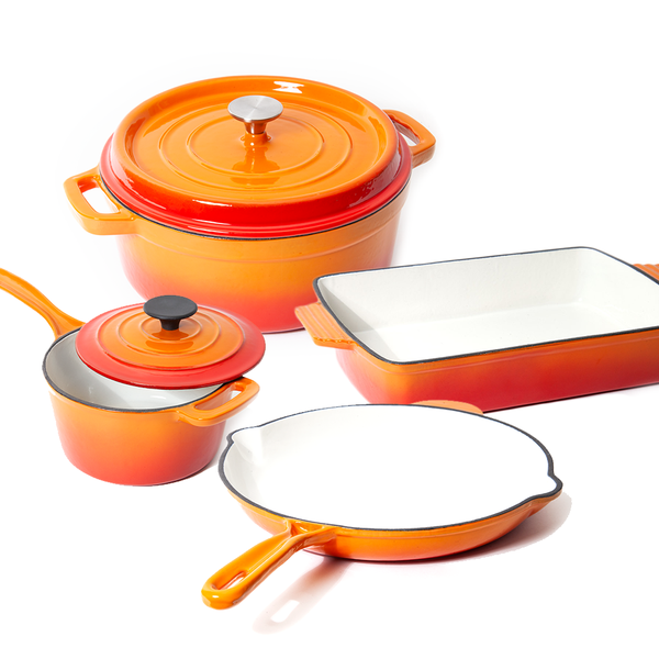 Nardelli Enameled cast iron cookware set available in Orange Blue or Red