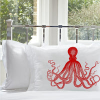 Red Deep Sea Octopus Ocean Beach Nautical Standard Pillowcase