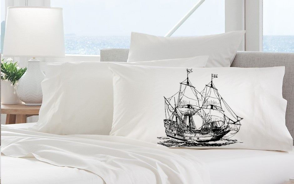Big Nautical pirate Clipper Ship Pillowcase