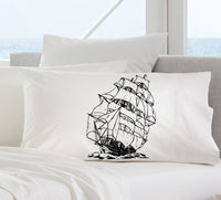 Black Sail Boat Clipper Ship Nautical Pillowcase