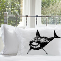 great white shark pillowcase black print