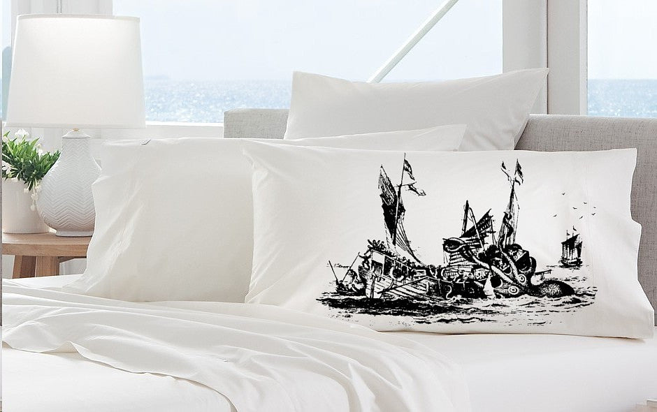 Kraken Octopus Shipwreck Nautical Pillowcase Standard Size