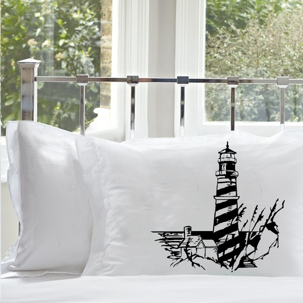 Sale - 38% off - Set of Two Black Striped Lighthouse Nautical Standard Pillowcase Screen Printed