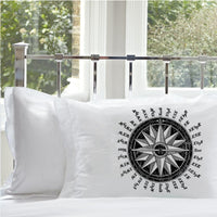 Black Ships Compass Rose Nautical Pillowcase