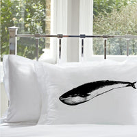 Blue Whale Naucital Pillowcase black print