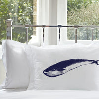 Navy Blue Whale pillowcase White Nautical Pillowcase pillow cover ocean sea