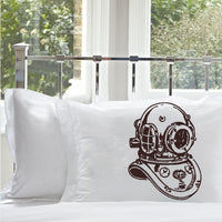 Deep Sea Diver Standard Nautical Pillow Case Cover print color Brown