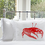 red fiddler crab nautical pillowcase standard size