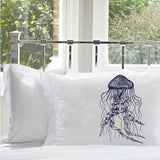 Navy Blue Jellyfish jelly fish Pillowcase pillow case cover nautical bedding room decor