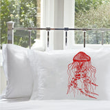 Red Jellyfish jelly fish Pillowcase pillow case cover nautical bedding room decor