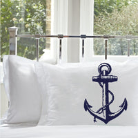 Navy Blue NAUTICAL Ship's Anchor PILLOWCASE pillow covers