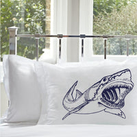 Navy Blue Big Mouth Great White Shark Standard Size Nautical Pillowcase