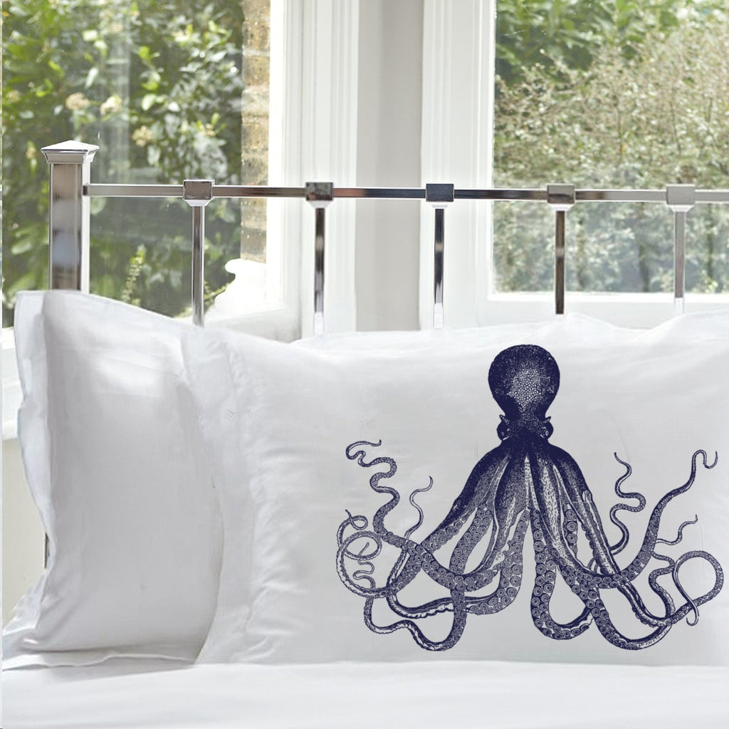 Navy Blue Deep Sea Octopus Ocean Beach Nautical Standard Pillowcase